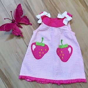 Adorable seer sucker dress & diaper cover.